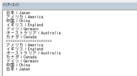 Excelのソートメソッドを使ったソート結果